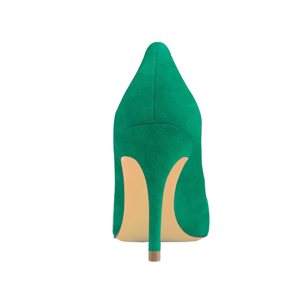 VOCOSI Women's Basic Simple High Heels Toe Slip On Closed Pointed Toe Heels Ladies Dress Pumps B073JFNVCC 7 B(M) US|Green-faux Suede a0a4c3