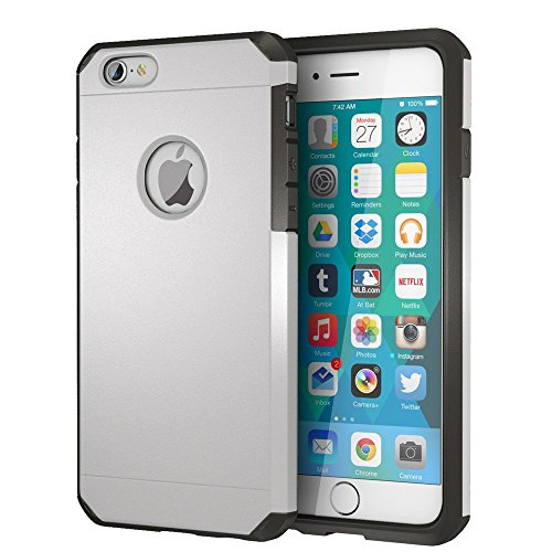 (iPhone 6 / 6s Case, ImpactStrong Heavy Duty Dual Layer Protection Cover Heavy Duty Case for Apple iPhone 6 / 6s (Silver))
