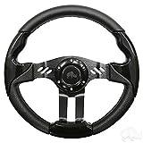 golf cart custom wheels - Aviator 5 Golf Cart Steering Wheel (Black Grip/Black Spokes)