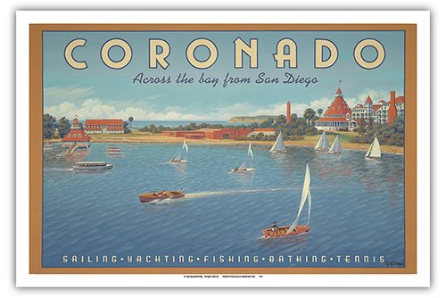 Pacifica Island Art Coronado Island, California - Across the Bay from San Diego - Hotel Del Coronado - Sailing - Vintage Style World Travel Poster by Kerne Erickson - Master Art Print - 12 x 18in