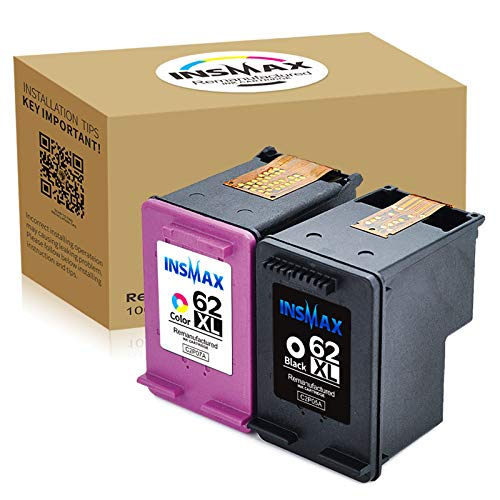 INSMAX Remanufactured Ink Cartridge Replacement for 62XL 62 XL Compatible with HP Envy 5540 5640 7640 5643 Officejet 5740 5743 Printer (1Black+1Tri-Color)