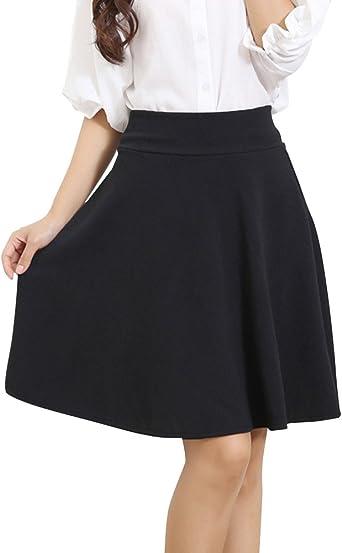 ShiFan Tallas Grandes Falda Mujer Elástica Plisada Básica ...