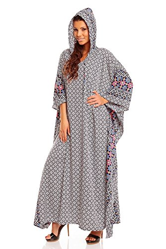 New Ladies Plus Size Full Length Hooded Tribal Print Kaftan Dubai Abaya