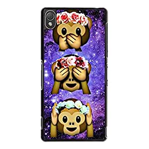 Sony Xperia Z3 Protective Mobile Shell Personalized Protective Phone Case Snap on Sony Xperia Z3 Funny Cute Little Monkey Pattern Cover Back