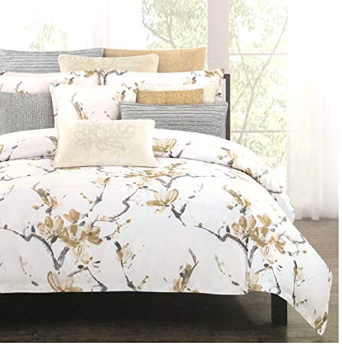 Nicole Miller Home 3 PC Queen Duvet Cover Set Floral Botanical Terry Garden Pattern Flowers in Shades of Gray on Light Pink White Background from Nicole Miller