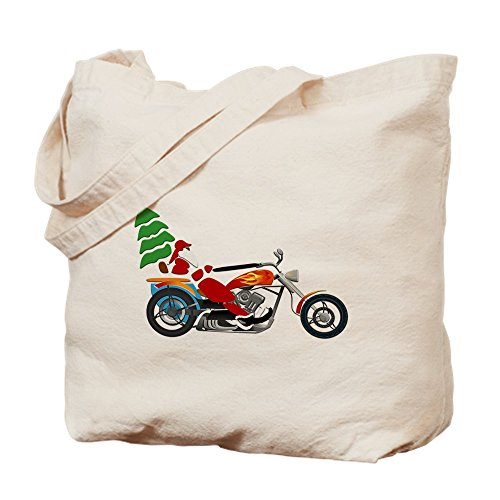 (Truly Teague Tote Bag Holiday Biker Santa on his Motorcycle / Chopper)