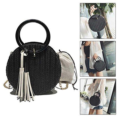 Pawaca Straw Hand-woven Handbags, Girls&Women Beach Shoulder Bag, Summer Crossbody Round Bag With Chain Straps (Hand Woven Handbag)