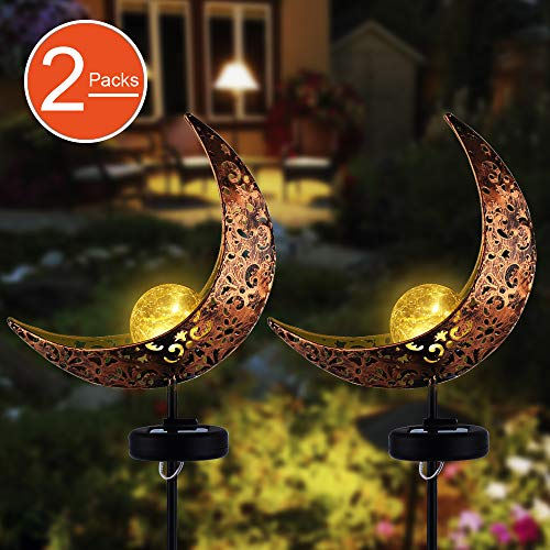 (Garden Solar Stake Lights,APONUO Pathway Outdoor Moon Crackle Glass Globe Stake Metal Lights,Waterproof Warm White LED for Lawn,Patio or Backyard (2 Packs))