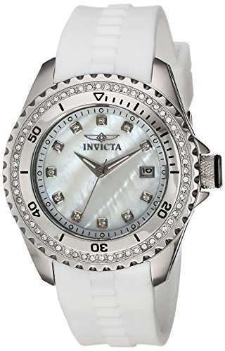 Invicta Women's 'Wildflower' Quartz Stainless Steel and Silicone Casual Watch, Color:White (Model: 21415)