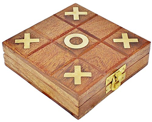 SKAVIJ Tic Tac Toe Wooden Travel Board Games Naughts and Crosses Family Brain Teaser Puzzle for Kids and Adults -