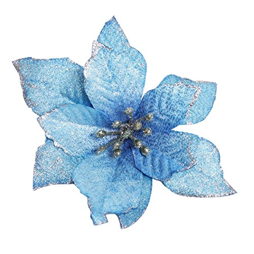 Silk Christmas Tree - Zabrina 12 Pcs 13cm Christmas Tree Decorative Silk Flower Gold Poinsettia Bush and Red Poinsettia Bush Artificial Flowers Christmas Tree Ornaments, Blue