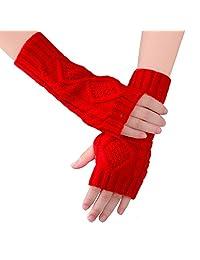 Women Ladies Winter Warm Knitted Fingerless Gloves Hand Wrist Warmer Mitten