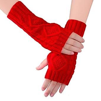 KUKOME Women Winter Fingerless Gloves Warm Knitted Hand