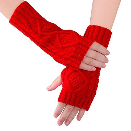 (KUKOME Women Winter Fingerless Gloves Warm Knitted Hand Wrist Ladies New Warmer Mitten)