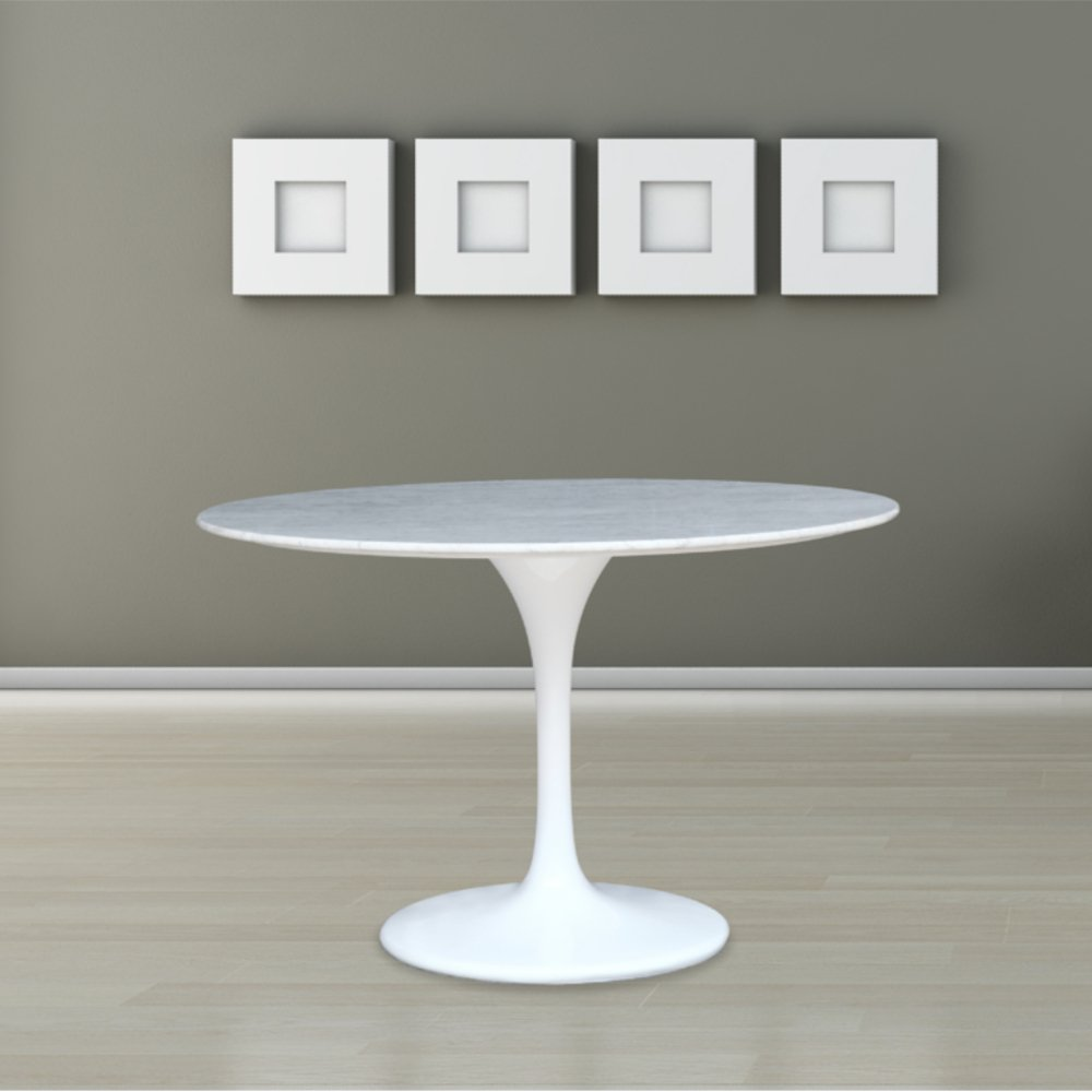 amazoncom quot eero saarinen style tulip dining table with white marble top tables: round white marble dining table