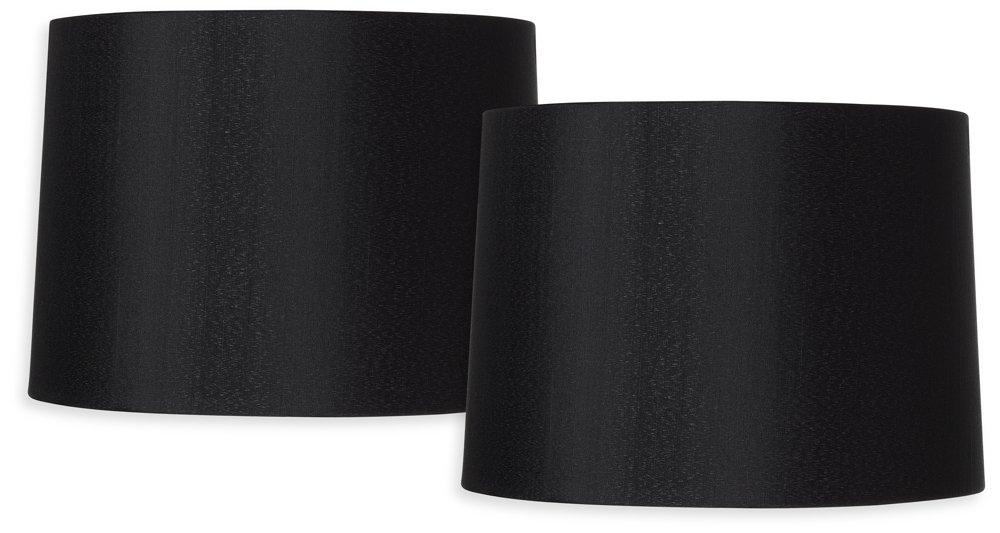 Black Set of 2 Hardback Drum Shades 13x14x10 (Spider)