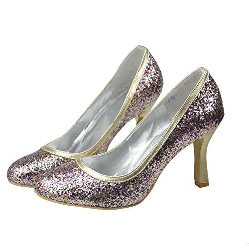 Tacco Alto Da Donna Con Tacco A Spillo Glitter Da Sposa Scarpe Da Sposa Scarpe Da Festa Multicolor-9.5cm Tacco