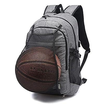 Men Laptop Basketball Backpack Nylon Waterproof Casual Durable School Bag Fashion Handbag 16inch Computer Backpack Water-Resistant Day-pack for Men,Grey