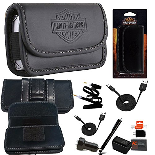 Harley Davidson Velcro Belt Loop Riding Case and 6pc USB Power Kit for Samsung Galaxy s5 Active
