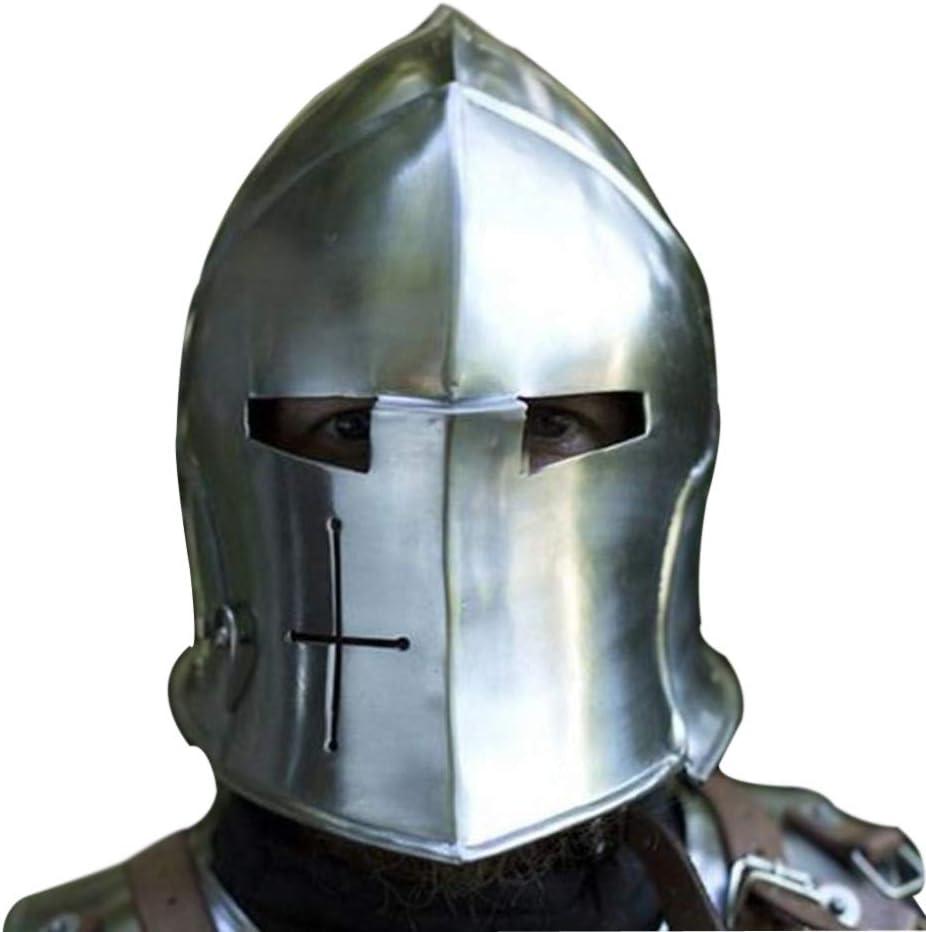 AnNafi Barbuta Viking Battle Knight Casco | Acero Medieval Visored Barbute Yelmo Armor SCA LARP Replica Disfraz
