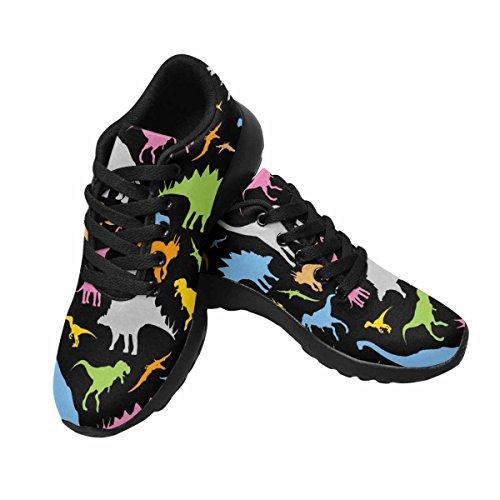 InterestPrint Womens Jogging Running Sneaker Lightweight Go Easy Walking Casual Comfort Running Shoes Dinosaur Pattern Multi 1 he7JE6NT