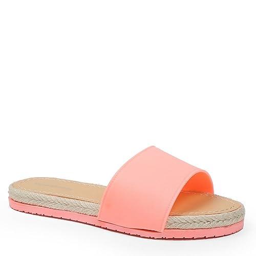 Ideal Shoes Sandali con suola in juta intrecciata Venicia, Rosa (Fuchsia), 37