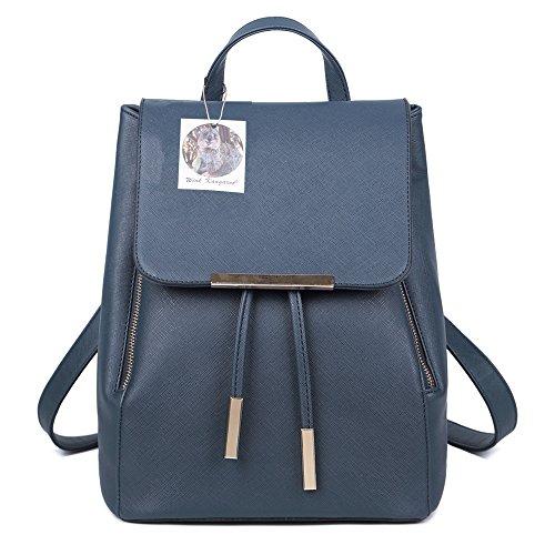 WINK KANGAROO Fashion Shoulder Bag Rucksack PU Leather Women Girls Ladies Backpack Travel bag (deep blue)