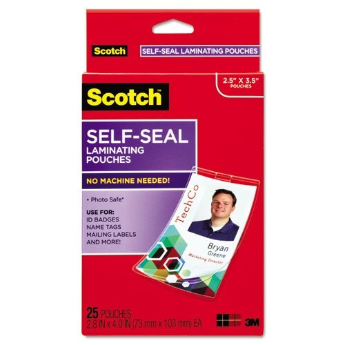 Scotch Self-Sealing Laminating Pouches, ID Protectors Includes Clips, 2.25 Inches x 3.5 Inches, 25 Pouches (LS852G)