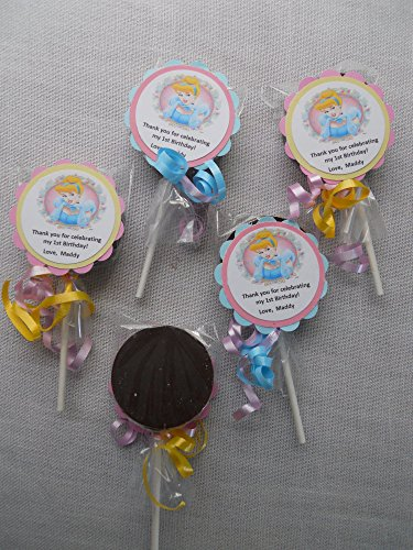 12 Disney Cinderella Chocolate Oreo Pops With custom tags Lollipops Birthday Party (Custom Chocolate Lollipops)