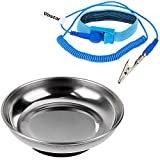 Tools & Hardware : Vastar Round Stainless Steel Magnetic Tray, Magnetic Parts Holder, 4 Inch, and ESD Anti-Static Wrist Strap Components, Blue