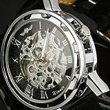 Winner Watches/Men/Wrist Watchess Black Leather Luxury Skeleton Dial Hand-Wind Up