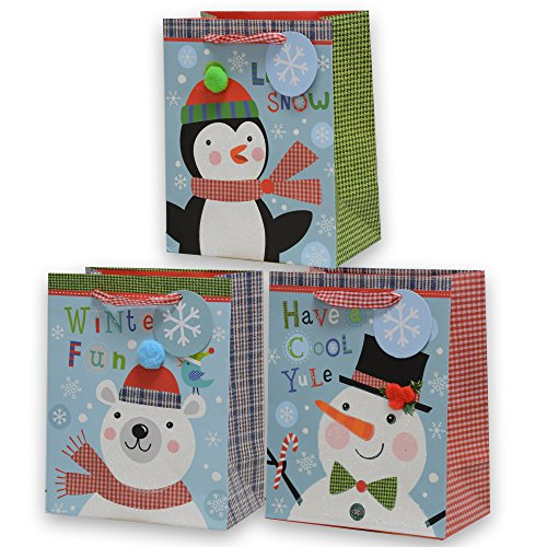12 Medium Bags by Baron Carter with Teddy Bear, Snowman and Penguin Designs, Glitter and pom pom Accents, red Gingham Ribbon Handles, Heavy-Duty Thick Paper Bags