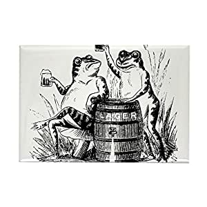 "CafePress - Beer Drinking Frogs Rectangle Magnet - Rectangle Magnet, 2""x3"" Refrigerator Magnet"