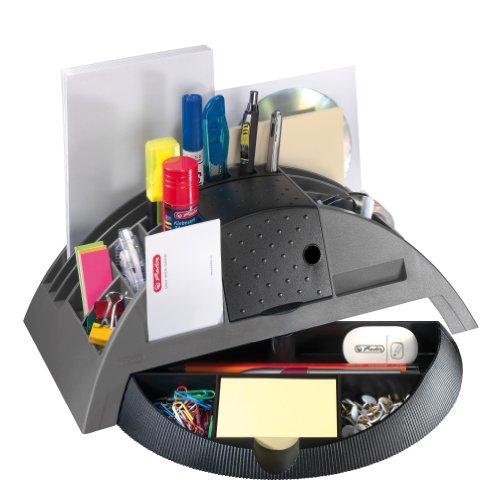 Herlitz 1601350 Big Butler V Schreibtischbox (Kunststoff mit Klebefilm/abroller, Anspitzer, Zettelhalter) 1 Stück anthrazit