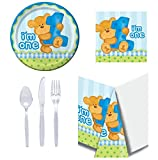 [ Party Kit for 32 ] 1st Birthday - Bear Blue: Plates, Napkins, Table Covers & Cutlery Set