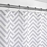 Extra Long Fabric Shower Curtain Mrs Awesome Extra Long Fabric Shower Curtain with Geometric Pattern, Hotel Grade, Water Repellent, Washable and Odorless, White and Gray, 72 x 84 inches