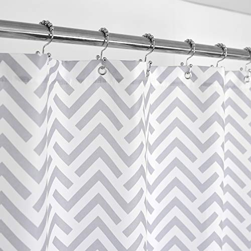 (Mrs Awesome Fabric Shower Curtain with Geometric Pattern, 36 inch Size for Small Stall - Hotel Grade, Water Repellent, Washable and Odorless - White and Gray, 36x72)