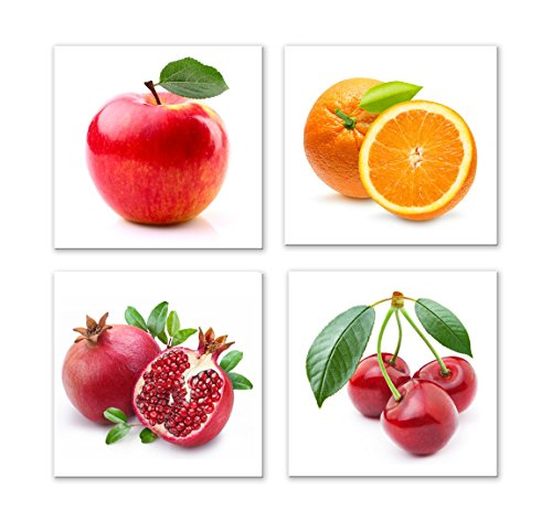 Yang Hong Yu - Canvas Prints Fruit Pictures on Canvas Wall Art Framed Modern Decor Paintings Giclee Artwork for Kitchen Dinning Room Decoration Apple Orange Pomegranate Cherry 12x12inch