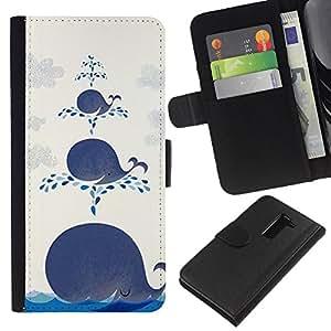 KLONGSHOP // Tirón de la caja Cartera de cuero con ranuras para tarjetas - Feliz linda Océano Kids Cartoon - LG G2 D800 //