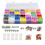 Image of Rubber Bands Refill Pack Colorful Loom Kit Organizer for Kids Bracelet Weaving DIY Crafting with Crystal-like Charms,500 S-Clips,Mini Hook and 175 Beads ( XMAS Present Set of 10,000+ Accs by STSTECH )