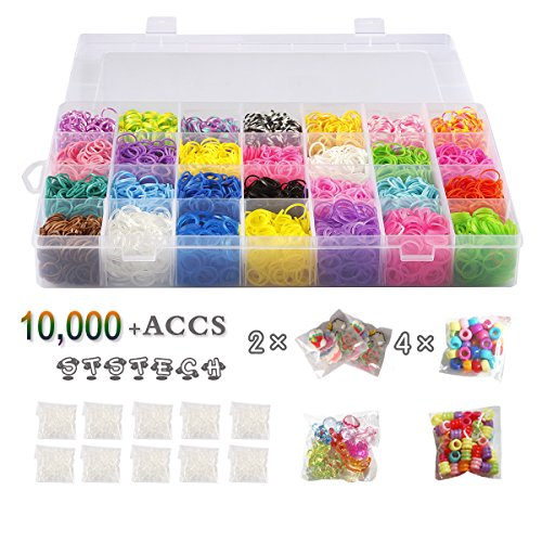 Rubber Bands Refill Pack Colorful Loom Kit Organizer for Kids Bracelet Weaving DIY Crafting with Crystal-like Charms,500 S-Clips,Mini Hook and 175 Beads ( XMAS Present Set of 10,000+ Accs by STSTECH ) (Rubber Band Bracelets Kit)