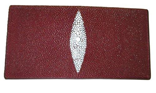 Drumsurn Imports Genuine Stingray Leather Checkbook Wallet Clutch Card Holder Wallet, Burgundy