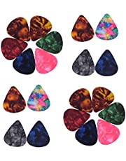 Ktoyols 100pcs/pack Colorful Celluloid Guitar Picks for Bass Electric Acoustic Guitars (Colors & Thickness 0.46mm/0.71mm/0.96mm Random Delivery)
