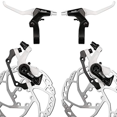 RUJOI Bike Disc Brake Kit, Aluminum Front and Rear Caliper, Full Aluminum Alloy Bicycle Brake Lever, 160mm Rotor, Mechanic Tool-Free Pad Adjuster for Road Bike, Mountain Bike