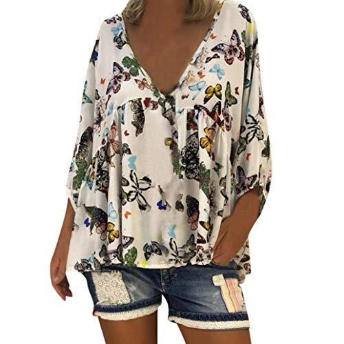 Dream_mimiWomen's Casual V-Neck Butterfly Print Flowers Long Puff Sleeves Loose Shirt T-Shirt Women's Shirt (M, White)