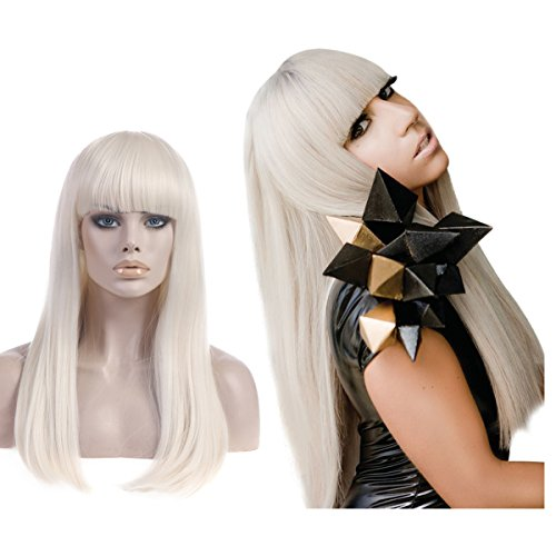 SARLA Blonde Cosplay Wig with Bangs for Women Lady Gaga CostumeSynthetic Long Straight Natural Cosplay Costumes Party Halloween Hair Full Wigs (Lw014) -