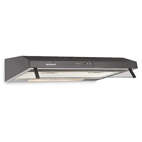 Sunflame 60cm 500 m3/hr Chimney (CH Slim 60 BK CF, 2 Baffle Filters, Black)