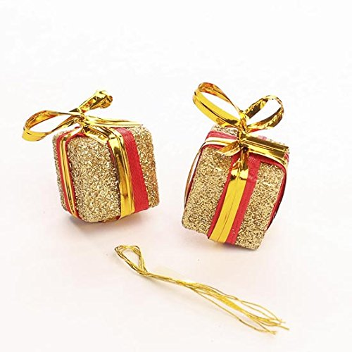 (Package of 12 Tiny 0.75 Inch Gold Glitter Gift Box Ornaments for Tree Trim, Package Embellishments, and)