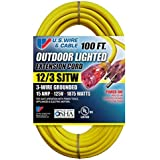 US Wire 74100 Outdoor Vinyl LIGHTED Yellow Cord, Lighted Plug, 300V, SJTW, UL, cUL, 12/3 Gauge 100 Length