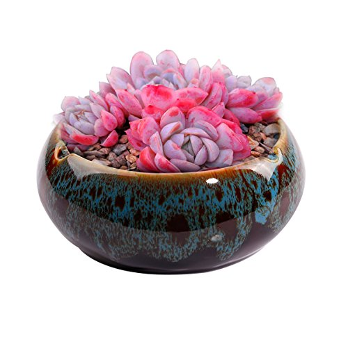 WaaHome Ashtray,Round Glossy Ceramic Ashtrays for Cigarettes,Gifts and Home Office Decoration (Blue)